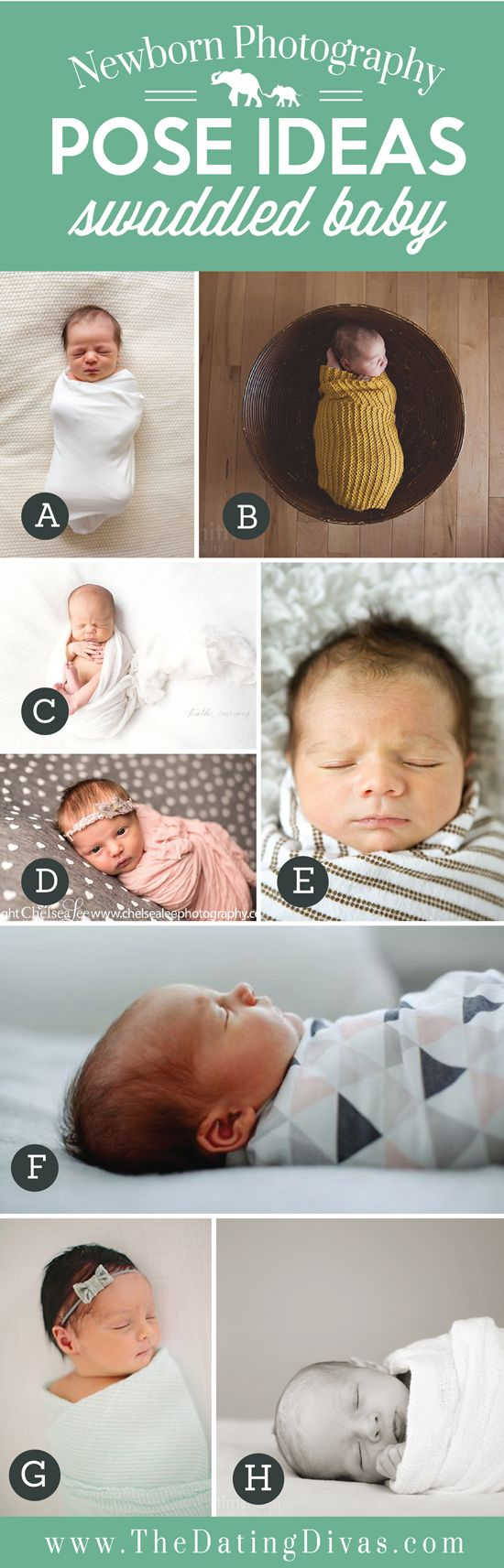 Precious Newborn Photography Pose Ideas with Swaddled Baby