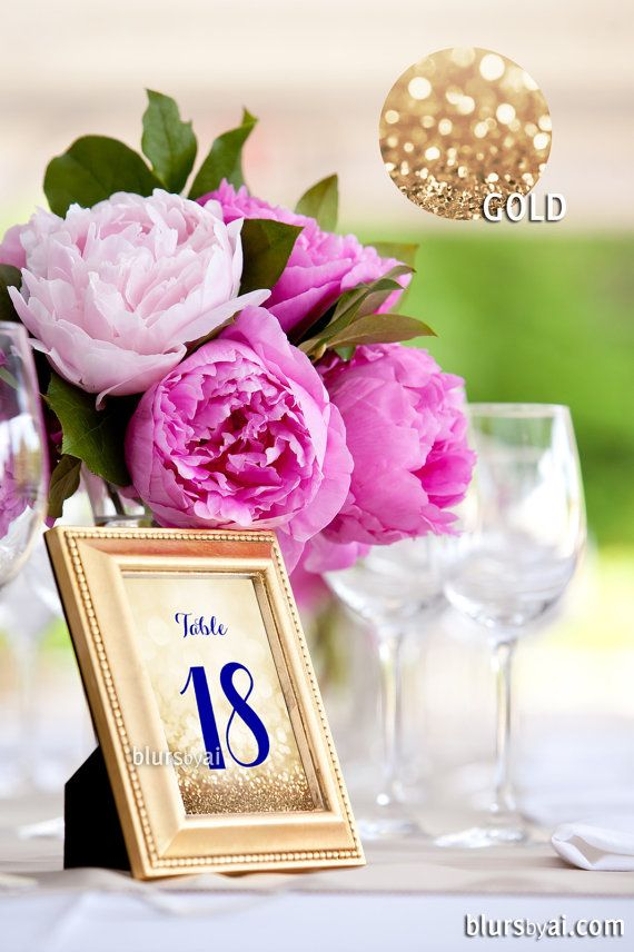 "4x6"" - Printable gold table numbers 1-40, wedding table numbers, navy & gold wedding, gold wedding, navy blue table numbers"