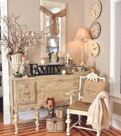 Country Sampler Magazine: Decks The Hall, Decor Ideas, Buffet, Homedecor, Shabby Chic Home, House, Chic Home Decor, Foyers Tables, Clocks Faces