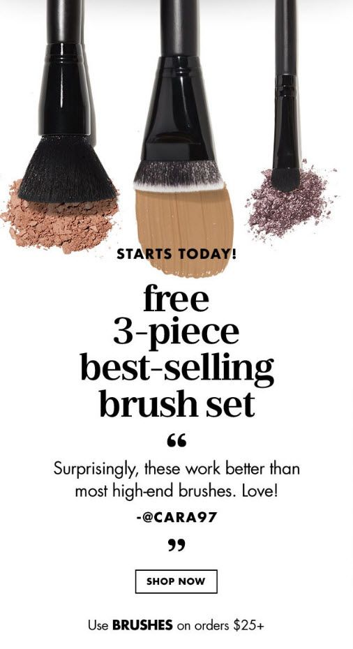 ELF Cosmetics 3-piece Free Bonus Gift with $25 Purchase & Promo Code BRUSHES at ELF Cosmetics - details at MakeupBonuses.com #ELFCosmetics #ELFCosmetics #GWP