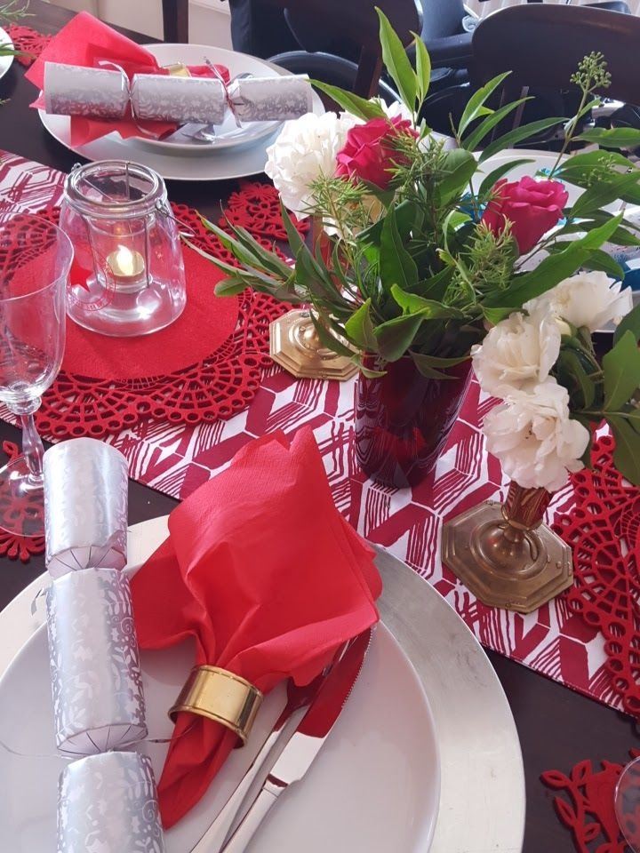 My Christmas Tablescape 2015 Brass Red and white