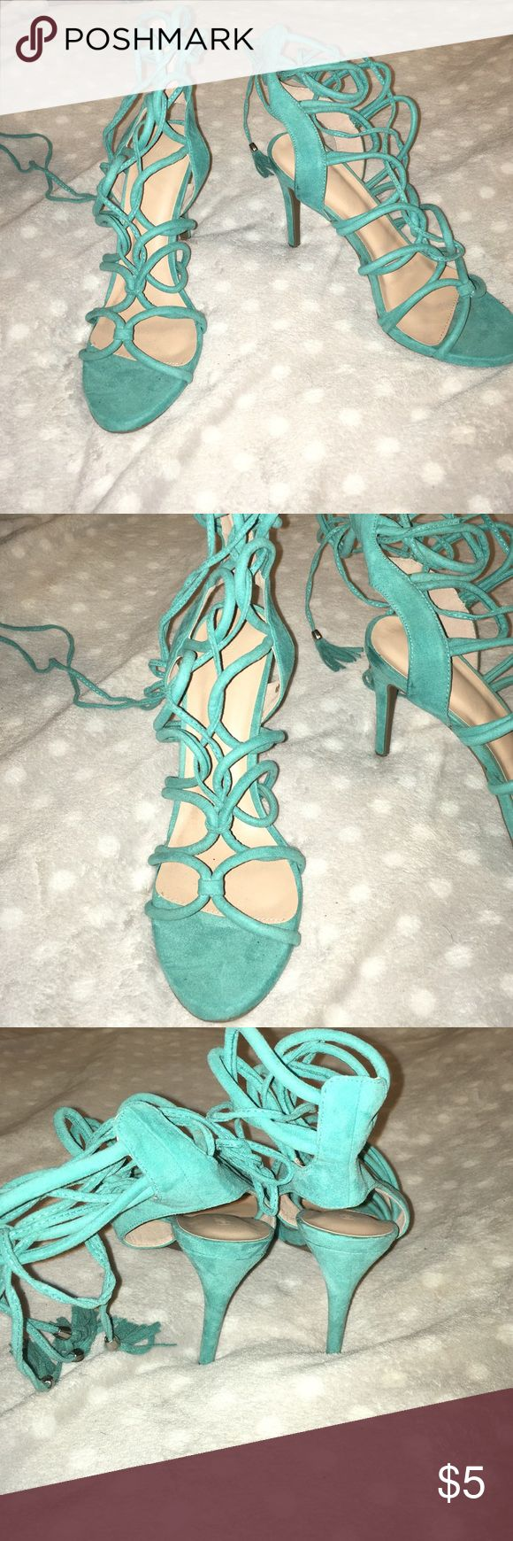 Blue strappy heels Blue strappy heels (never been worn) Shoes Heels