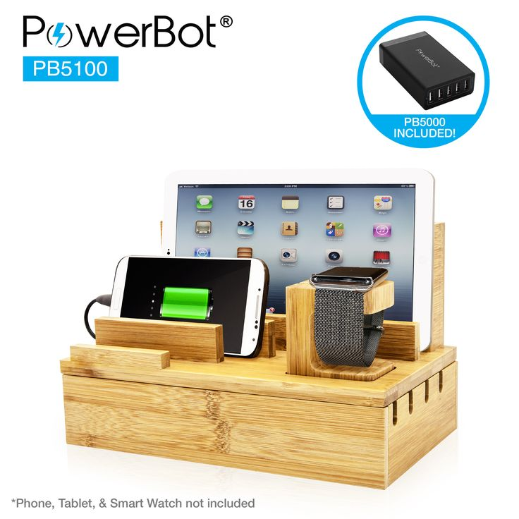 PowerBot® PB5100 40Watt 8Amp 5 USB Port Rapid Charger Universal Desktop Charging Station w/ Bamboo Finish, Multi Device Charging Dock, Organizer Stand for Tablets, Apple Watch, Smartphones up to 5.7""