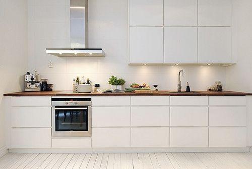 Vitt kök med bänkskiva i valnöt Kitchen aid Pinterest