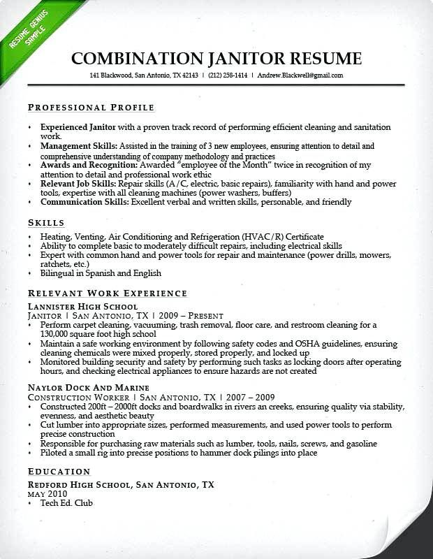 Sample Janitor Resume Combination Worker Lebenslauf Vorlagen Resumeexamples Resumetemplates