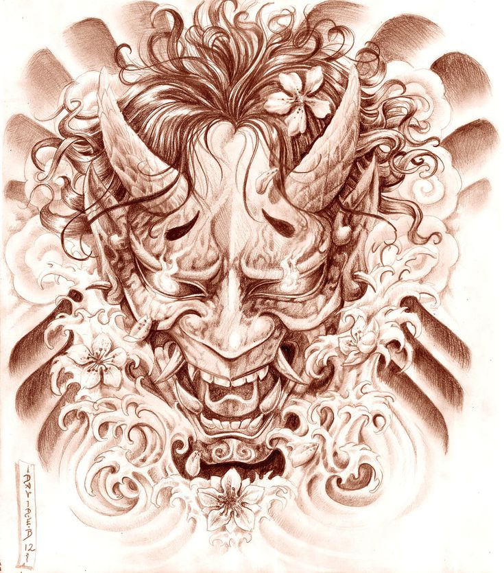 Hannya Mask And Waves Tattoo Picture - Tattoo Ideas