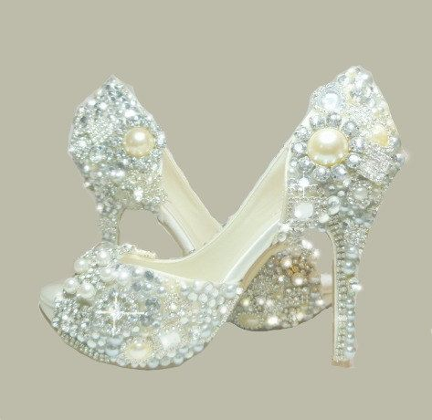 Cinderellas Wish Peep Toes... crystal, glass and pearl covered high heels. Wedding bespoke custom design