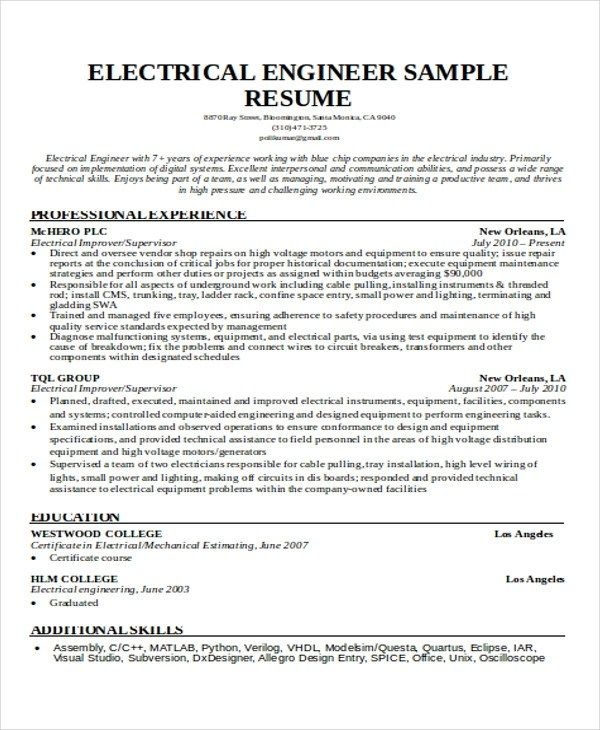 resume model for engineering students