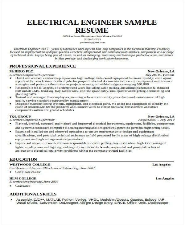 55 Engineering Resume Samples Pdf Doc Free Premium Engineering Resume Student Resume Template Student Resume