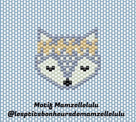 Schema Motif tête de renard avec couronne de fleurs en tissage brick stitch