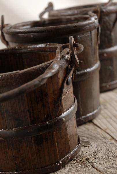 """Vintage Natural Wood 5"""" Brown Buckets with Iron Handles $18"""