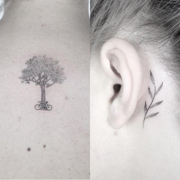 #tattoofriday - Jabuk Nowicz: tatuagens minimalistas, linhas finas e pontilhismo - árvore/galho;