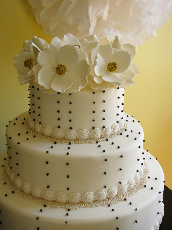Three tier magnolia cakeTiered Magnolias, Polka Dots, Three Tiered, Steel Magnolias, Cake Wedding, Connie Cupcakes, Magnolias Cake, Wedding Cake, Milestones Birthday