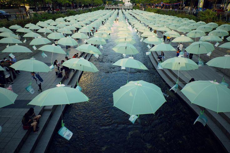 umbrellas over Cheonggyecheon, Seoul, South Korea