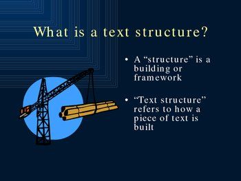 An introduction to text structures. This 75-slide presentation introduces the main text structures and shows the clue words that can be used to determine each.  Plus more!