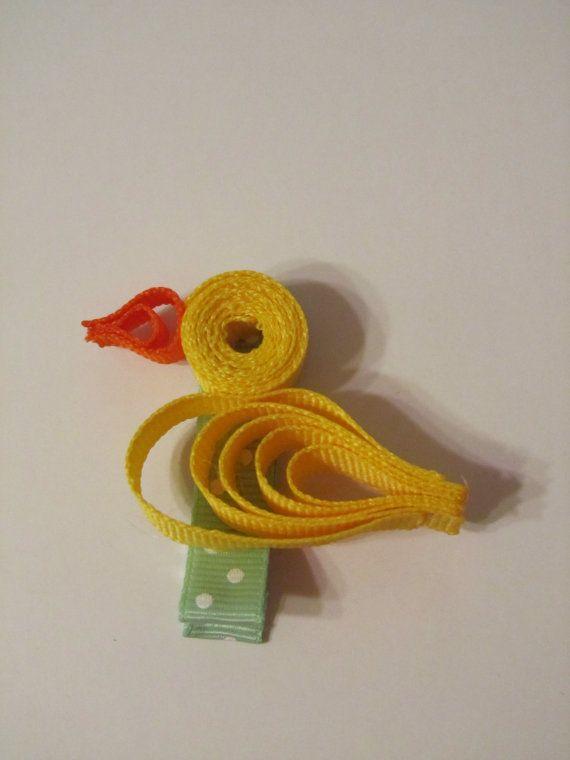Cute Little Duck Ribbon Sculpture Hair Clip by ThePlaygroundDivas, $5.00