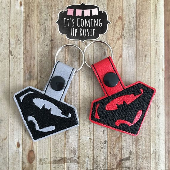 Superman vs Batman Logo Keychain  Zipper Pull  by ItsComingUpRosie