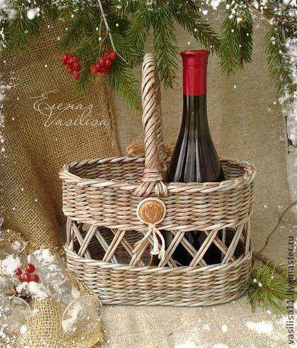 """Корзины, коробы ручной работы. Ярмарка Мастеров - ручная работа Короб для вина """"Новый год в деревне"""". Handmade."""