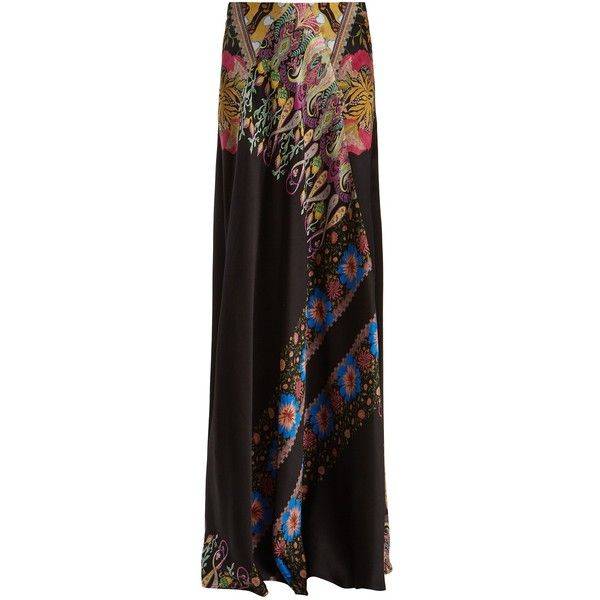 Etro Abstract floral-print hammered silk-satin skirt ($1,205) ❤ liked on Polyvore featuring skirts, black print, high waisted floral maxi skirt, chevron maxi skirts, high waist skirt, floral print skirt and high waisted maxi skirt