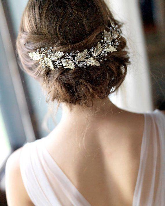Floral Bridal Headpiece Gold Headpiece Gold Wedding Back Etsy Wedding Hair Inspiration Hair Pieces Beach Wedding Hair