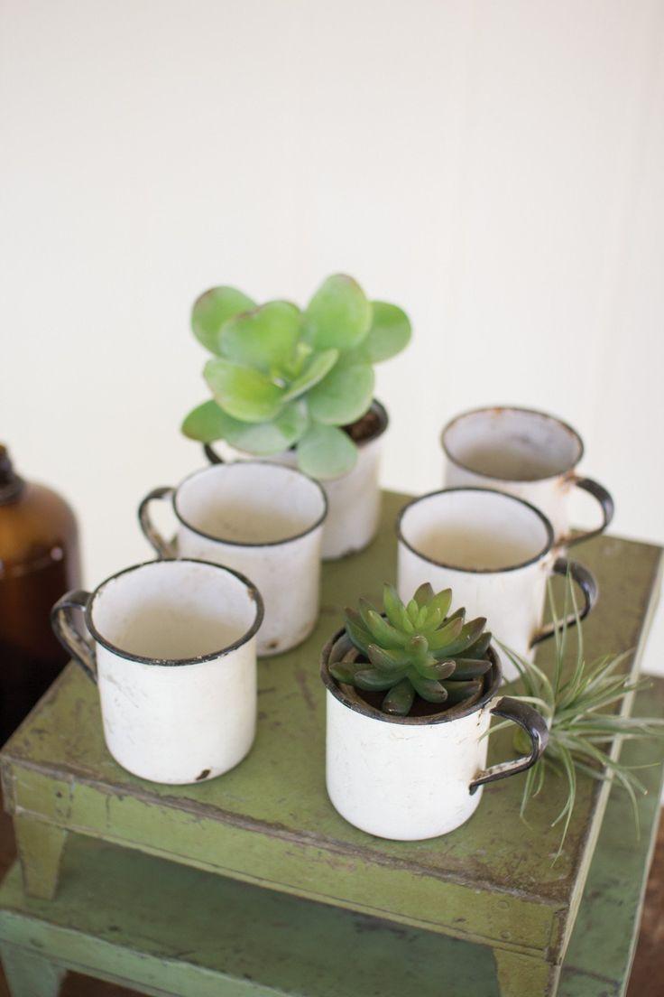 Kalalou Black And White Antique Enamel Mug/Planter