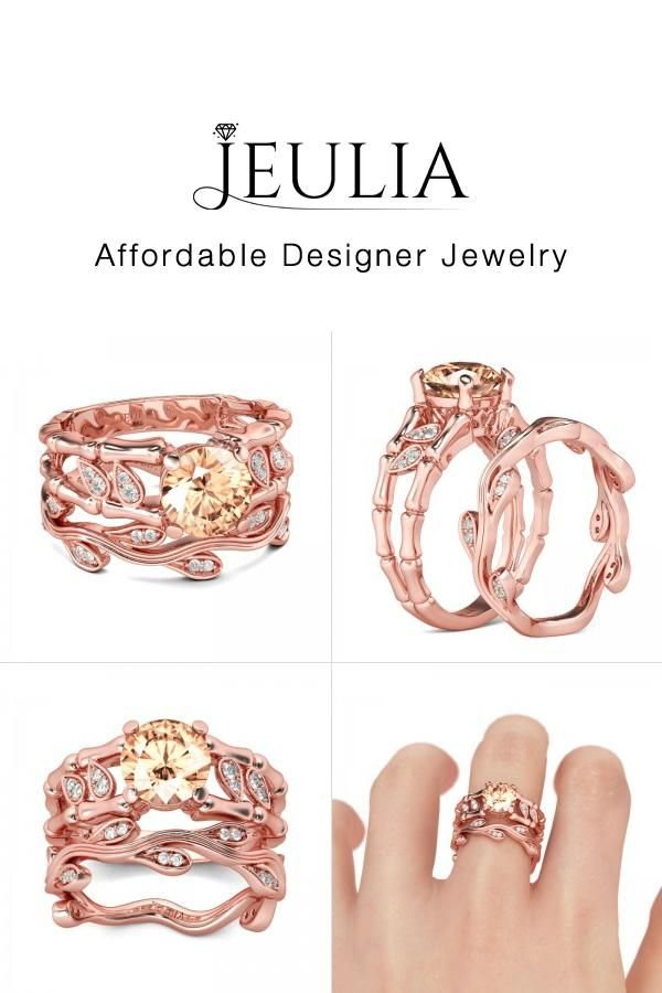 jeulia jeulia rose gold champagne wedding ring sets for women with leaf discover more - Wedding Ring Shop
