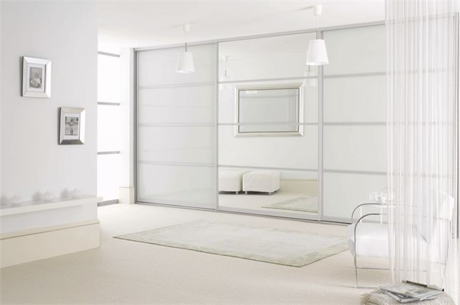 Sliderobes fitted sliding door wardrobe white glass with light oak rails