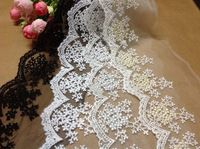 Бесплатная доставка 22506 5 ярды 10 см белые цветы волна вышивка вышитые водорастворимая хлопчатобумажной ткани отделкой