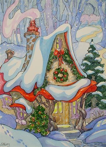 """A Christmas Twilight Storybook Cottage Series"" - Original Fine Art for Sale - © Alida Akers"