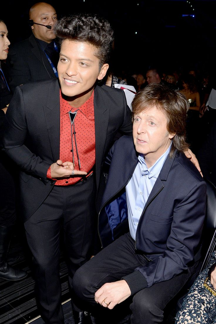Bruno Mars took a picture with Paul McCartney. 2014 Grammy awards