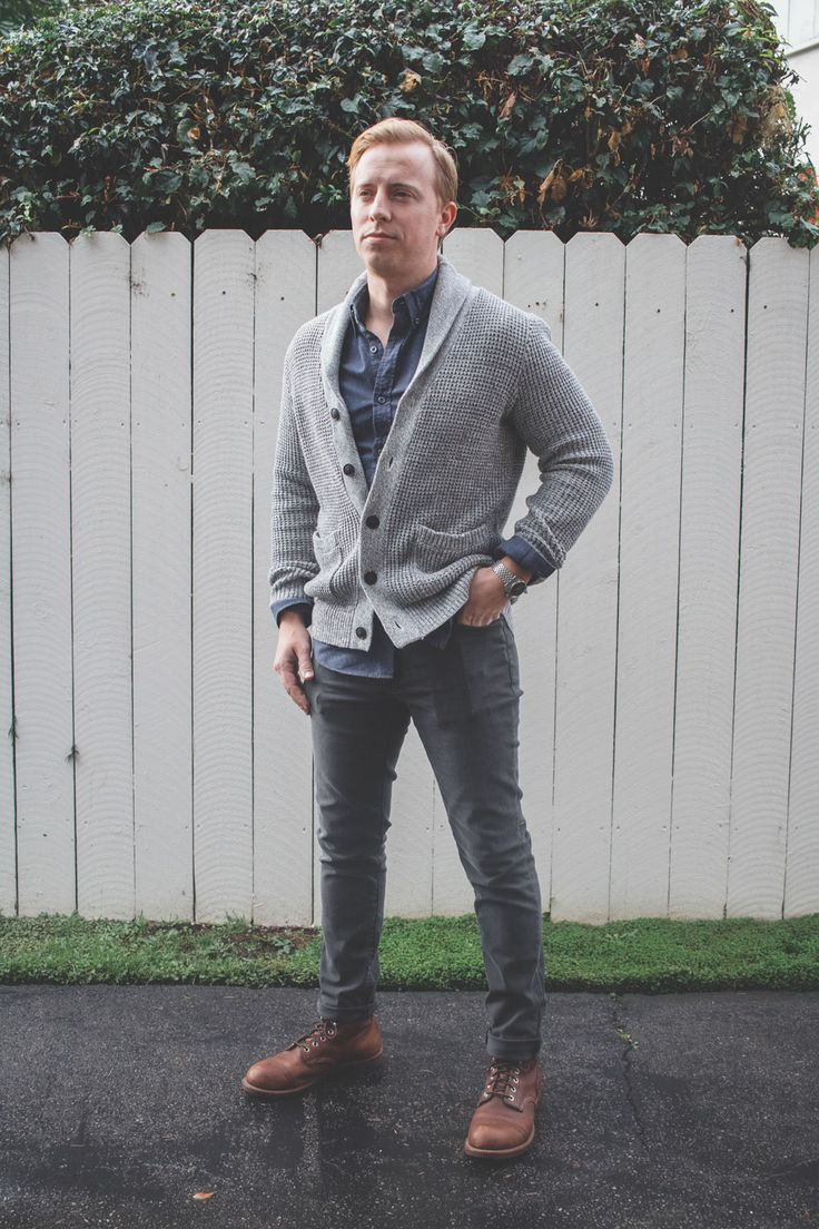 The Essentials: Gray Jeans | Outfit 5 - Shawl Collar Cardigan / Blue Shirt / Gray Jeans / Red Wing Iron Rangers