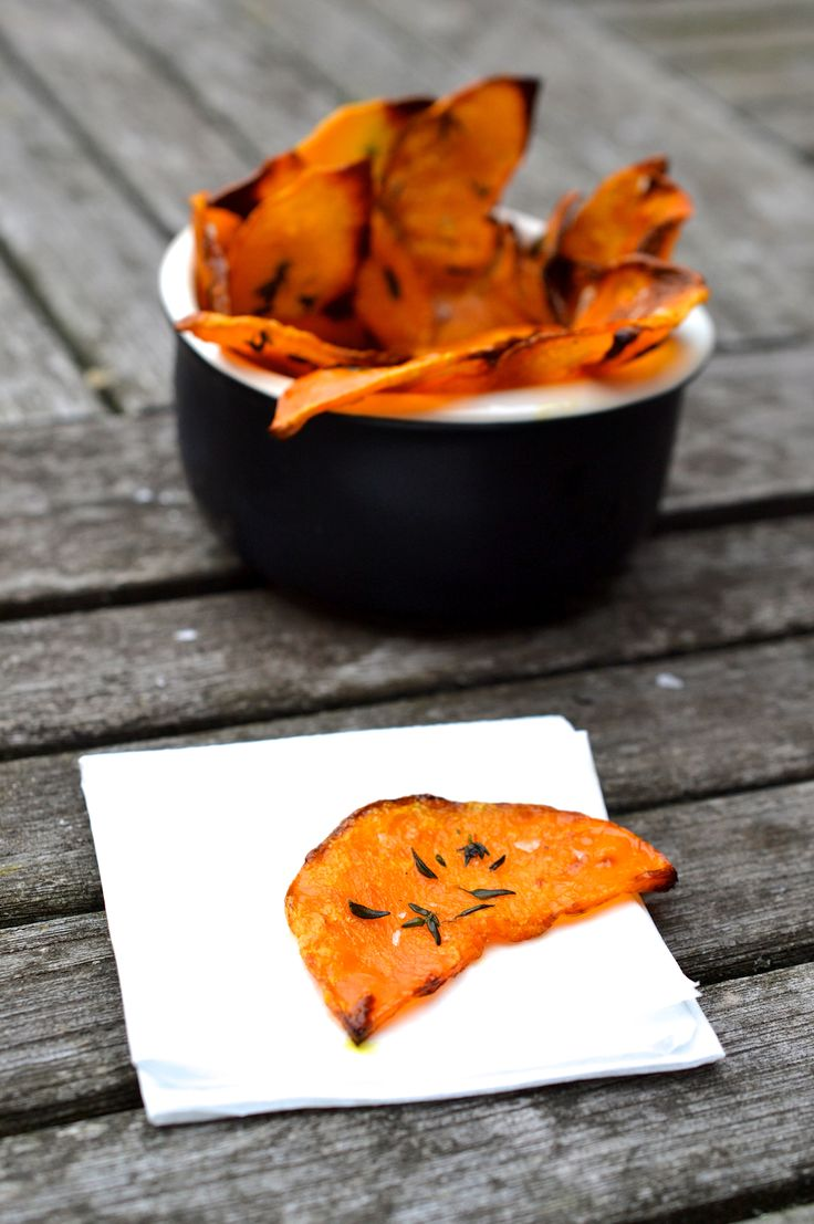 Crisp oven baked butternut squash chips. The perfect healthy snack. Paleo, Specific Carbohydrate Diet Legal, Dairy Free, Grain Free