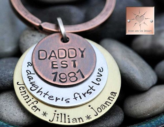 Hand Stamped Daddy Keychain Custom Mixed by HeartAndSolDesigns