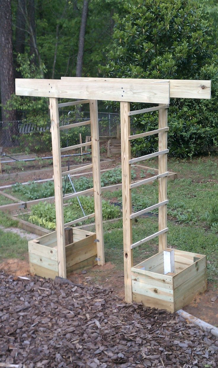 "This is a simple arbor design. I plan on ""running"" cucumbers and a crawling flower up the side...should look pretty good!"