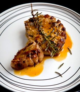 Pork chops with garlic, rosemary & orange sauce | Karen Martini