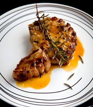 Pork chops with garlic, rosemary & orange sauce | Karen Martini
