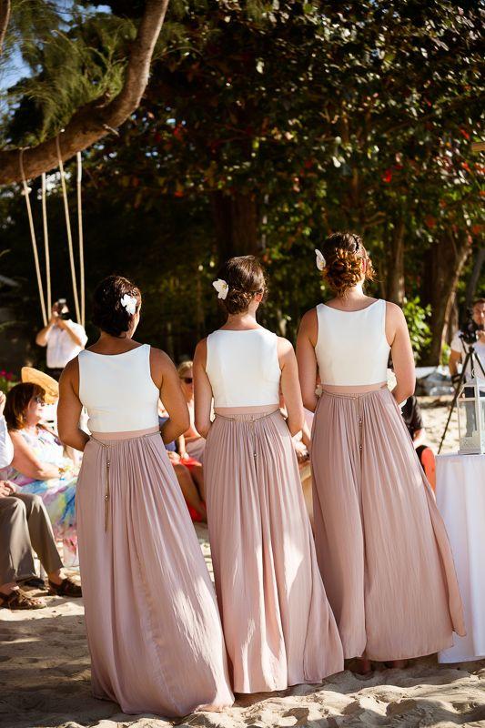 Dusky pink bridesmaids. Long flowy dresses. beach wedding