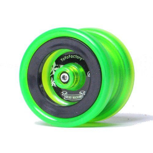YoYoFactory Neon Collection Grind Machine Yo-Yo - Neon Lime by YoYoFactory. $24.79. The YoYoFactory Neon Collection Grind Machine is a brilliant new take on this classic YYF yo-yo!The Grind Machine is the next generation in yo-yo performance. It's the first non-metal yo-yo to feature YoYoFactory's patented triple-bearing hubstack technology. Combine this with a modern shape, textured grinding surface, silicone response and a large Central Bearing Co. SPEC bearing, and th...