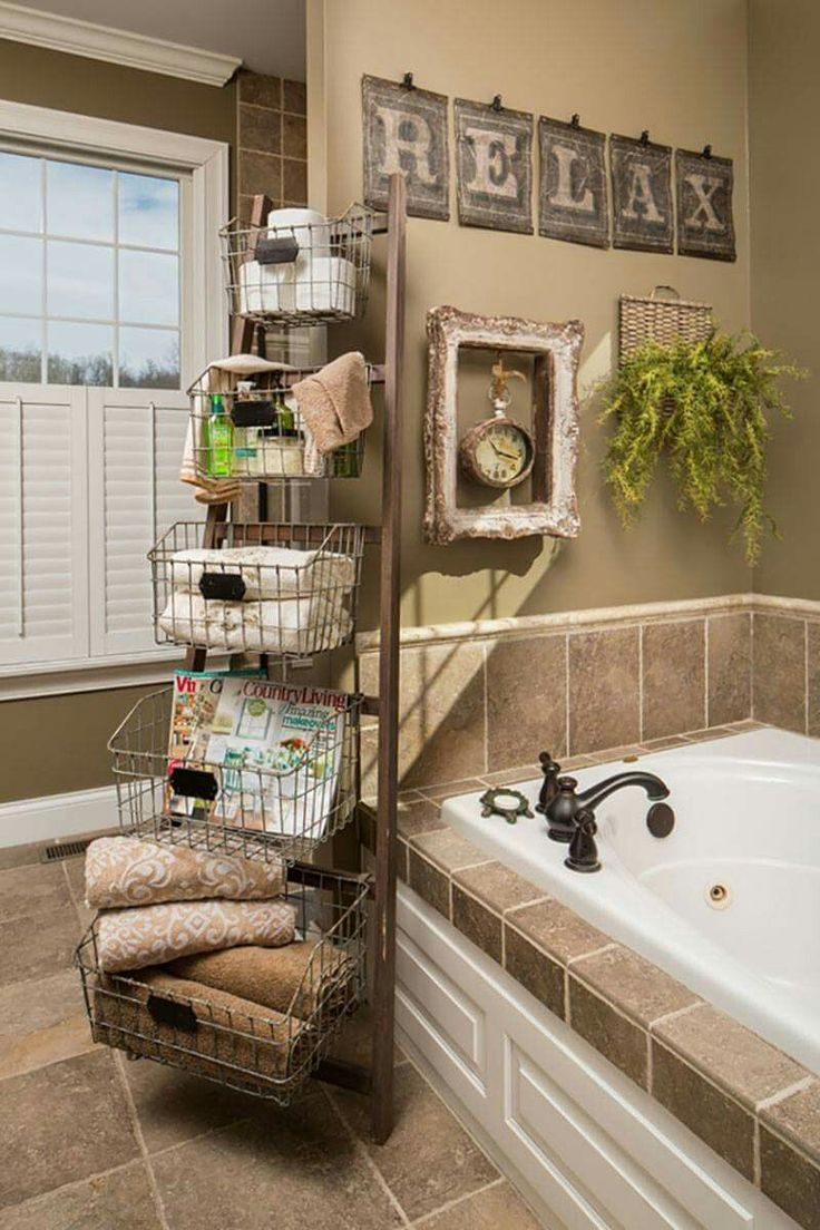 Bathroom wall storage baskets - Ok So You Don T Have Room For The Ladder Baskets But The Wall Decor