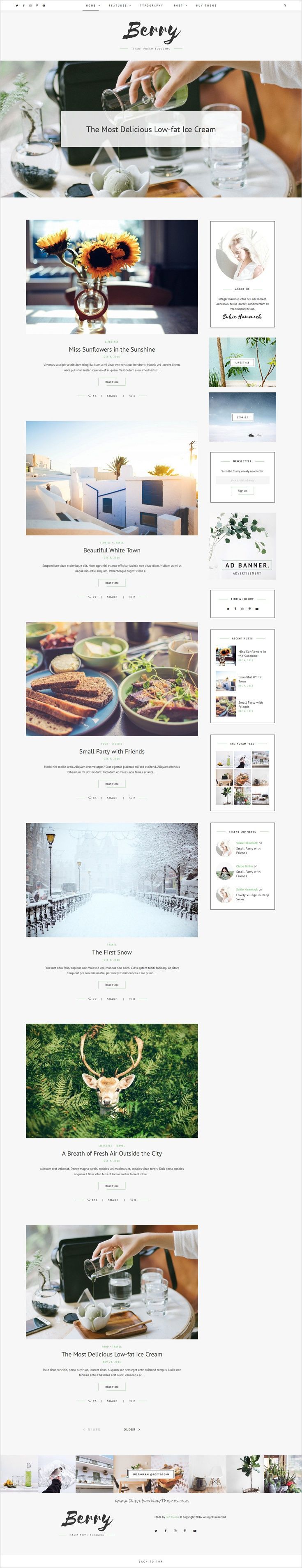 Berry is a clean and elegant design personal responsive #WordPress #blog #theme with fresh colors and modern style download now➩ https://themeforest.net/item/berry-a-fresh-personal-blog-theme/19065824?ref=Datasata