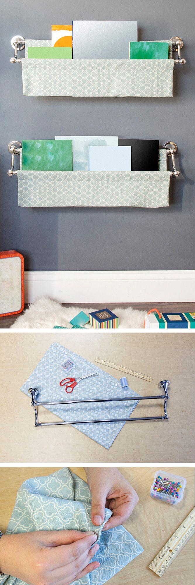 A book sling is an attractive way to organize and store books, especially in a child's room. This DIY book sling is easy to make; all you need is a double towel bar in your favorite finish and any fabric of your choice. Click through for the tutorial.
