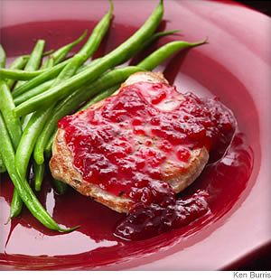 Easy Pork Chop with Cranberries  Wicked yummy sauce - I recommend using the orange juice and 3 tablespoons of honey, it really brings everything together and counteracts the bitterness of the cranberries
