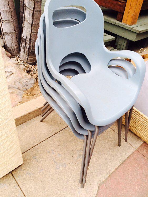 Set of 4 Blue Mid-century plastic Garden Chairs $80