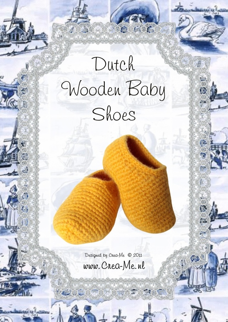 Crocheted Dutch Wooden Baby Shoes