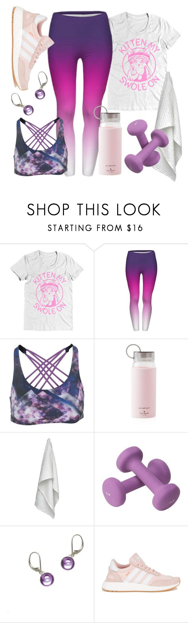 """""""Kitten My Swole On"""" by avagoldworks ❤ liked on Polyvore featuring Onzie, Kate Spade, The Organic Company, Valeo, adidas and avagoldworks"""