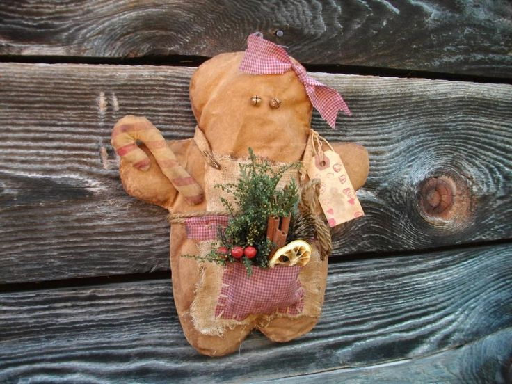 Primitive Grungy Gingerbread Christmas Decoration