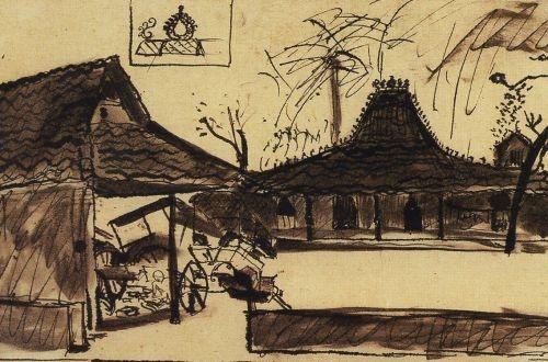 "S. Sudjojono, ""Sanggar Seniman Indonesia Muda"", ink on paper, 1947"