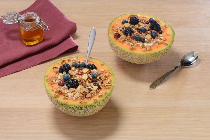 All-Bran* Granola Greek Yogurt and Berry Cantaloupe Bowls