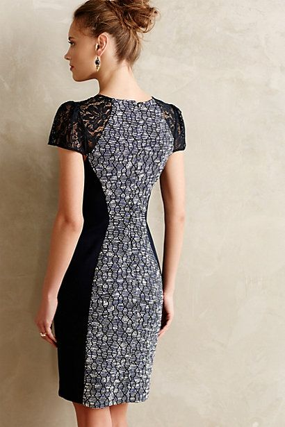 Tweed Splice Shift Dress - anthropologie.eu