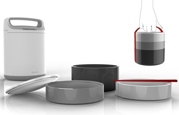 Want!   Bento heats up the assembly's base using inductive technology, creating steam from water added to the grains in the bottom container.  The double-walled containers act like a thermos and keep the contents warm. It also features a built-in timer, which allows it to be programmed to begin cooking at a desired time.  Read more at http://www.yankodesign.com/2012/06/13/bento-box-on-a-daily-basis/#ltBQDvpmV4kEhhQ7.99  Bento Lunchbox by Vim & Vigor Design